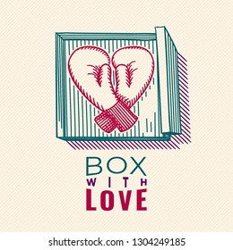 Box with Love Heart Shape Colored Sketch Style Boxing Gloves and Box with Logo Lettering Valentines Day Comic Concept - Red and Turquoise on Yellow Striped Background - Vector Hand Drawn Design