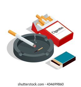 Box of matches, cigarettes pack, cigarette on white isolated background. Flat 3d vector isometric illustration.