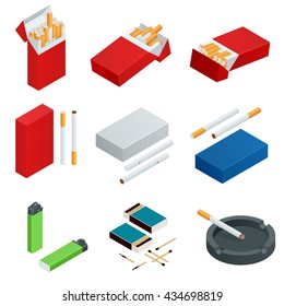 Box of matches, Lighters, cigarettes pack, cigarette. Flat 3d vector isometric illustration.