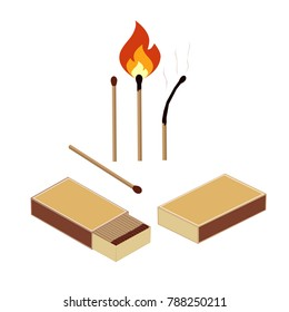 box of matches, set a burning match, a burnt match