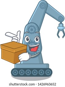 With box mechatronic robotic arm in mascot shape
