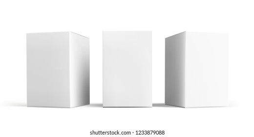 Box mock-up set. Vector isolated 3D white carton cardboard or paper package boxes models templates, angle side and front view
