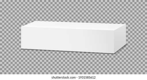 Box mockup of toothpaste. 3d white package for cosmetic and medicine. Template of carton rectangular box for tube. Blank cardboard isolated on transparent background. Packaging of product. Vector.