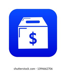Box money icon blue vector isolated on white background