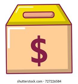 Box money icon. Cartoon illustration of box money vector icon for web