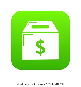 Box money icon green vector isolated on white background