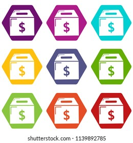 Box money icons 9 set coloful isolated on white for web