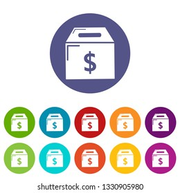 Box money icons color set vector for any web design on white background