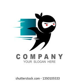 Box ninja logo icon design stock vector, ninja logo with fast + delivery icon