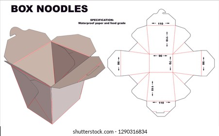 Box noodles. Layout with Cutting and Scoring Lines on Striped Background - Vector Draw Graphic Design - Vector