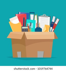 Box with office objects. Papers, documents, folders, calculator, pen and pencil. Cartoon flat style vector illustration.