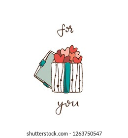 a box with an open lid, full of hearts. Valentine's day, postcard, for you, lettering,