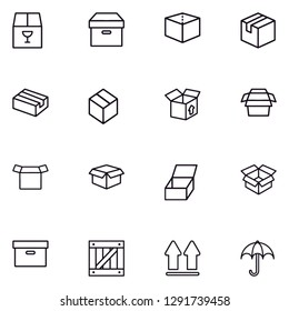Box, package, parcel, delivery, logistics lineal icon set EPS 10 vector format. Transparent background.