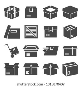 Box, package, parcel, delivery logistics icon set on white background