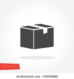 Box, Package, Parcel Isolated Flat Web Mobile Icon / Vector / Sign / Symbol / Button / Element / Silhouette