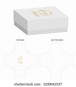 Box packaging die cut template design. 3d mock-up illustration.
