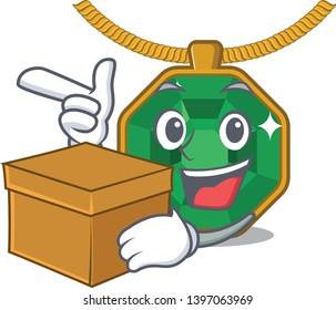 With box peridot jewelry in a cartoon box