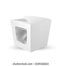 Box With Plastic Window For Chocolate Candy Vector. Blank And Clear Square Cardboard Product Package With Transparent Window On Side. Sustainable Wrap Container Realistic 3d Illustration