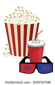 A box of popcorn, juice and 3d glasses