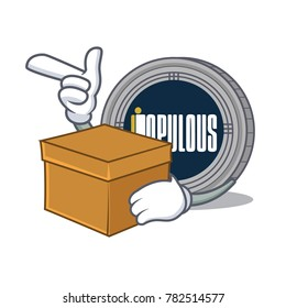 With box populous coin character cartoon