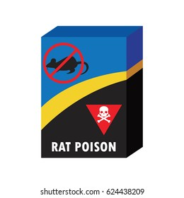 box of rat killer poison and no rat sign concept. vector illustration