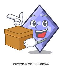 With box rhombus character cartoon style