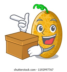 With box ripe honeydew melon in market cartoon