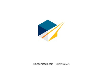 box and road logo icon vector