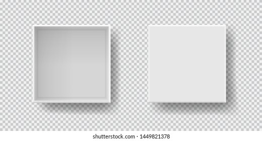 Box set top view with shadow, mock up model 3D. Realistic white blank package. Cardboard paper matchbook container template. Vector illustration isolated on transparent background for your business.