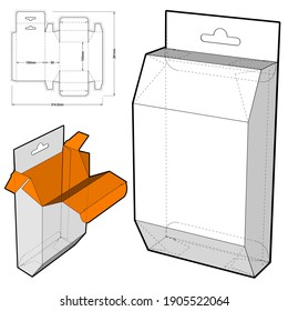 Box with Shelf Hanger Hole and Die-cut Pattern. The .eps file is full scale and fully functional. Prepared for real cardboard production.