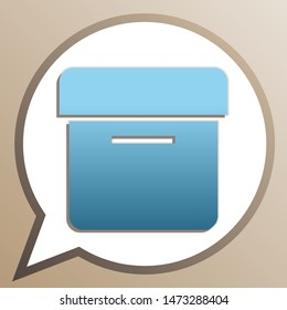 Box sign. Bright cerulean icon in white speech balloon at pale taupe background. Illustration.