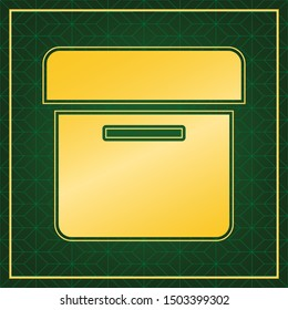 Box sign. Golden icon with gold contour at dark green gridded white background. Illustration.