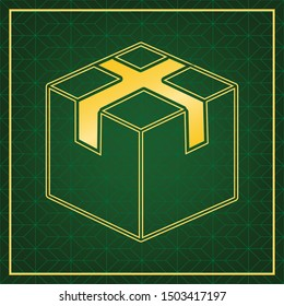 Box sign illustration. Golden icon with gold contour at dark green gridded white background. Illustration.