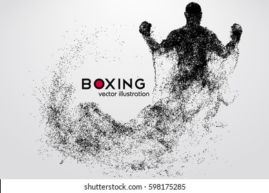 Box silhouette. Background and text on a separate layer, color can be changed in one click. Boxing. Vector illustration