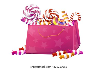 A box of sweets, candy, lollipops, candy, chocolate. Big set, pink, bright, brilliant. Without the background, on a white background.
