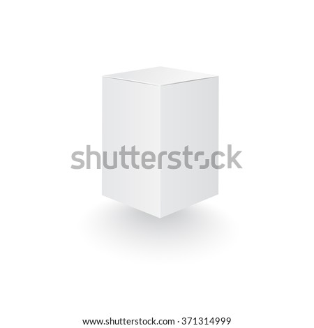 Box Template 3 D Tall Package Shadow Stock Vector Royalty Free