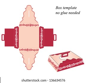 Box template with handle, no glue needed. Floral pattern. Vector illustration.