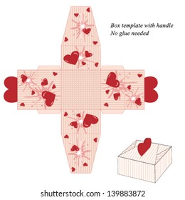 Box template with handle, no glue needed. Vector illustration with stripes and red hearts.