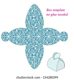Box template with handle, no glue needed. Vector illustration with seamless pattern.