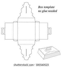 Box template with handle, no glue needed. Vector illustration
