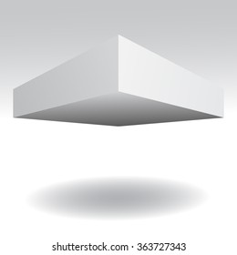 Box template isolated. Flying white box. Vector illustration, eps 10
