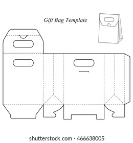 Box template with lid, blank, vector illustration