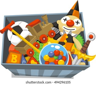 Box of Toys full of games, dolls, and letter cubes cartoon illustration