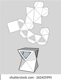 box with triangular windows. Packing box for your business