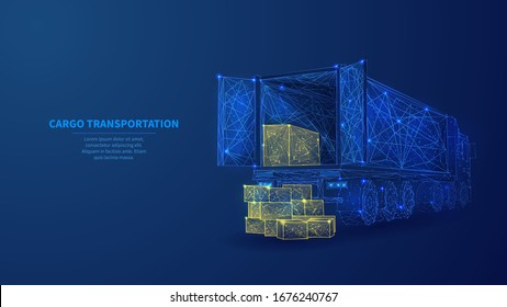 Box truck and isolated on dark blue background. Low poly wireframe vector illustration. Delivery and transportation logistics storage warehouse industry business commercial concept.