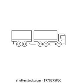 Box truck line outline icon
