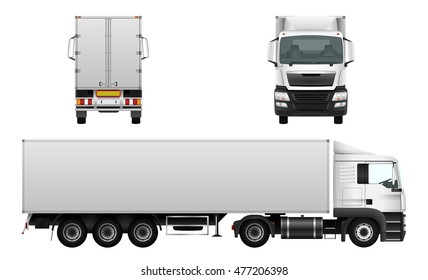 Box truck vector mock up for advertising, corporate identity. Isolated template of cargo transport on white background. Vehicle branding mockup. View from side, front, back.
