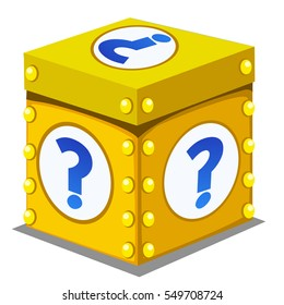 Box with unknown contents isolated on white background. A question mark. Vector illustration closeup.