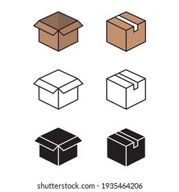 Box vector flat icon. Open box icon