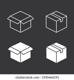 Box vector icon on grey background